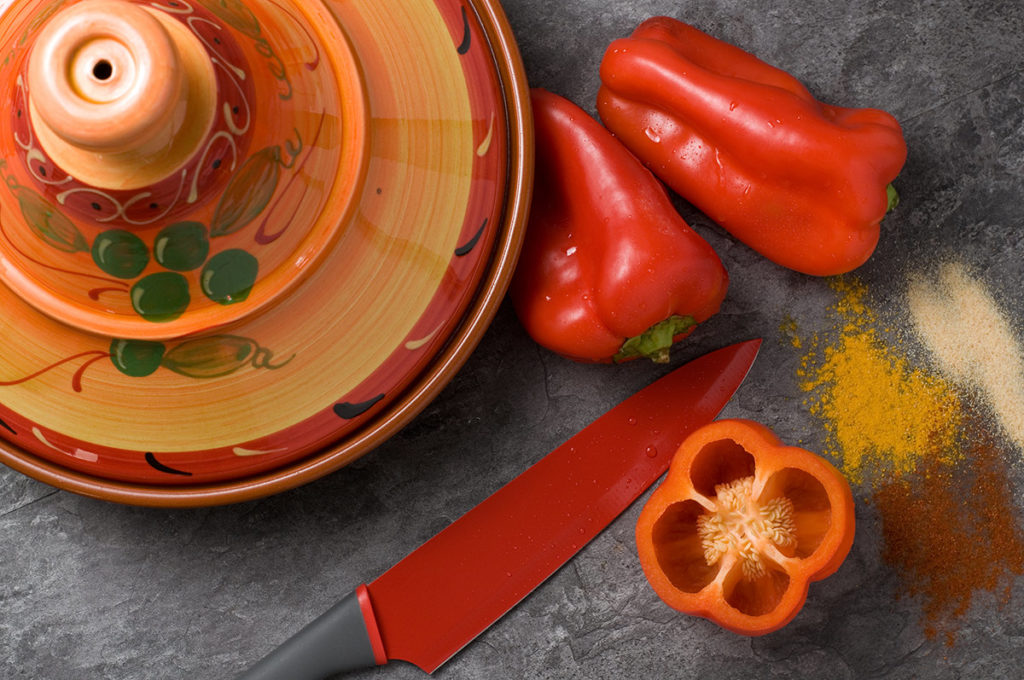 Exotic Cuisine with Tajine and Red Peppers