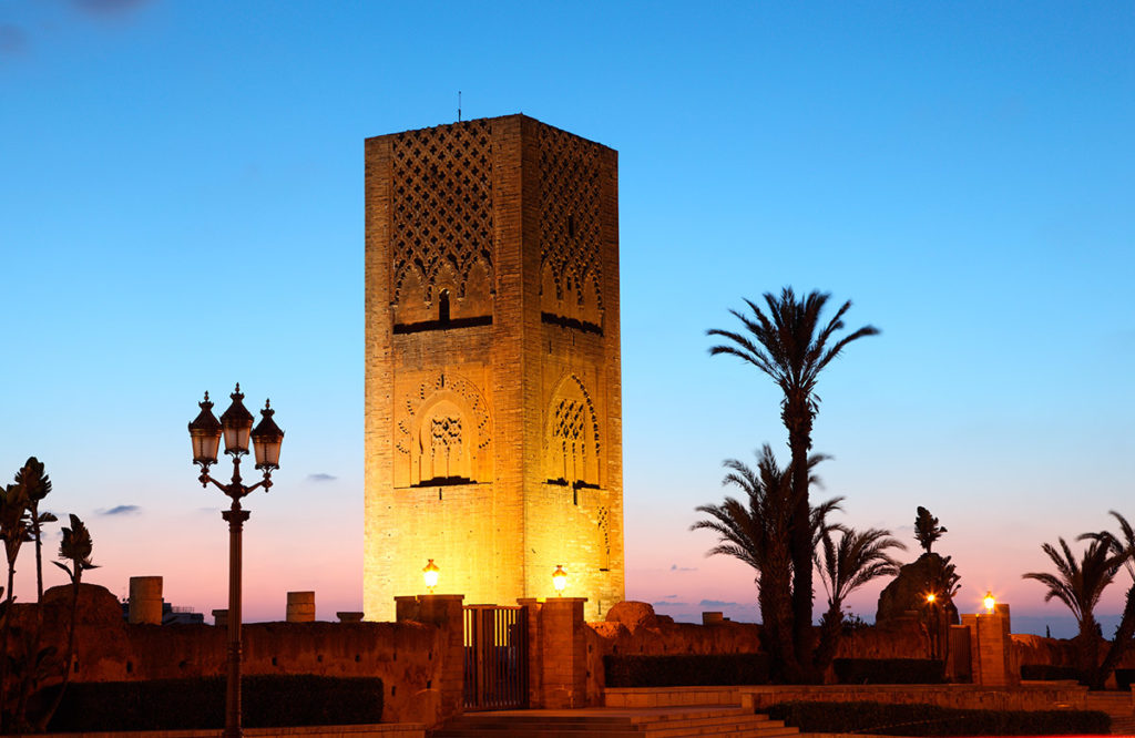 The Hassan Tower illuminated at night. Rabat, Morocco